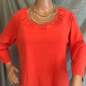 RAFAELLA LARGE ORANGE 3/4 SLEEVE BLOUSE